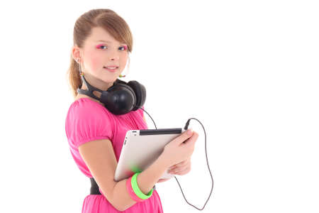 teenage girl in red with tablet pc over white photo