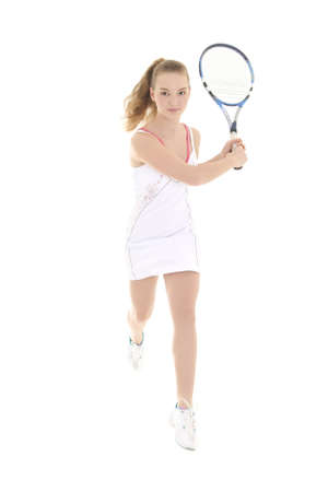 young sporty woman running with tennis racket over white photo