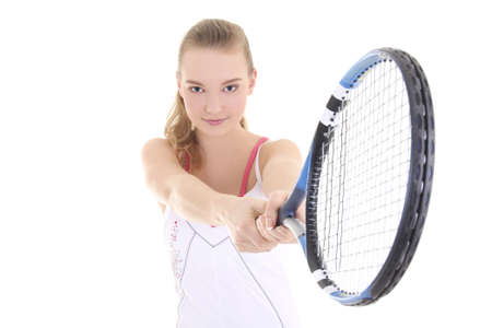 attractive sporty girl with tennis racket over white photo