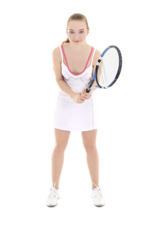 young beautiful female tennis player with racket over white photo