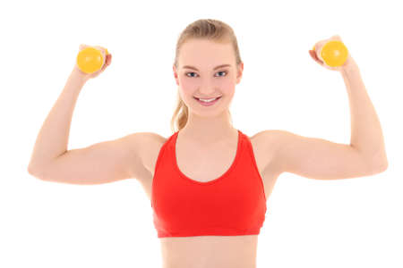 strong woman with yellow dumbbells over white photo