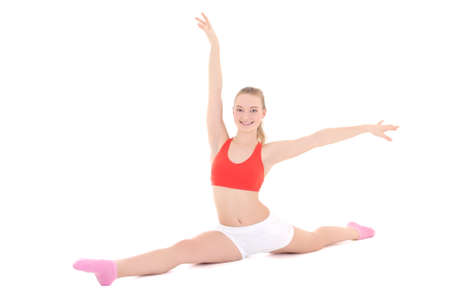 young fitness woman doing stretching exercise over white photo