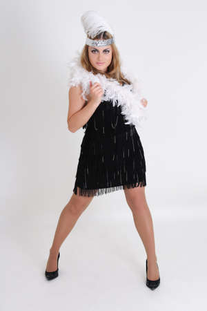 young woman in retro clothes over white photo