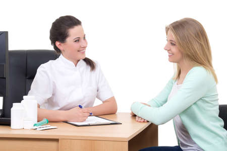 female doctor and patient talking in clinic