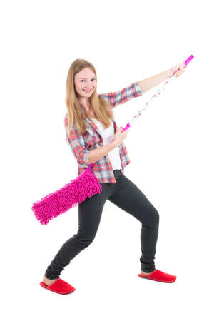 funny beautiful girl with pink mop isolated on white background photo