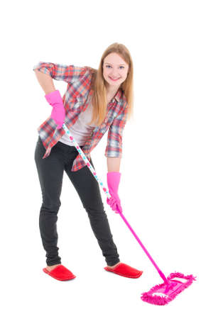 young housewife with mop isolated on white background photo