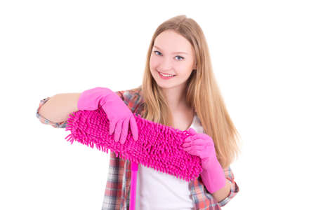 portrait of young attractive housewife with mop isolated on white background photo