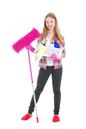 young attractive housewife with mop and cleaning supplies isolated on white background photo