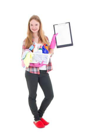 young housewife with cleaning supplies and contract isolated on white background photo