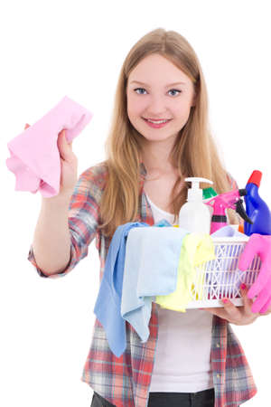 young beautiful blond with cleaning equipment isolated on white background photo