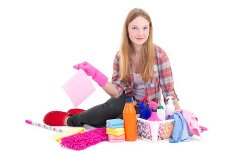 young beautiful blond sitting with cleaning equipment isolated on white background photo