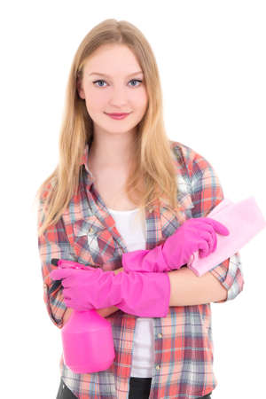 young attractive woman in pink rubber gloves with spray and rag isolated on white background
