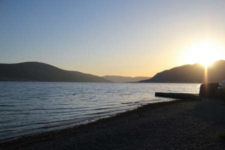 Beautiful dramatic sunset in Tivat, Montenegro photo