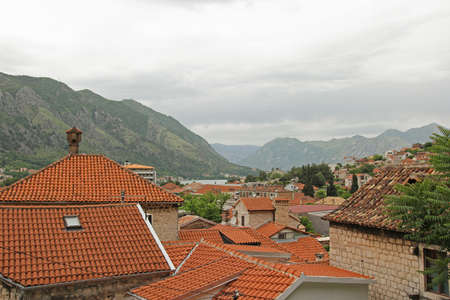 red roofs of the buildings in Kotor, Montenegro photo
