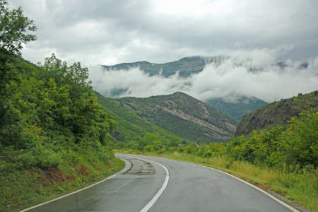 asphalt road in Montenegro mountains photo