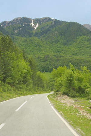 asphalt road to mountains in Montenegro photo