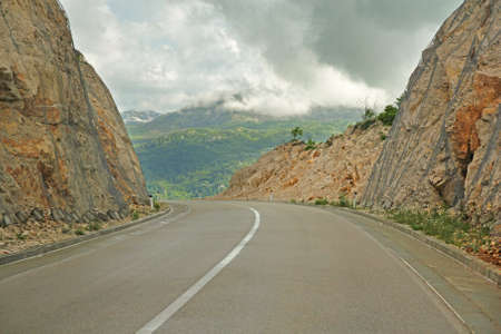 asphalt road in mountains of Montenegro photo