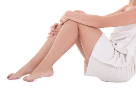 sexy female legs isolated over white background photo
