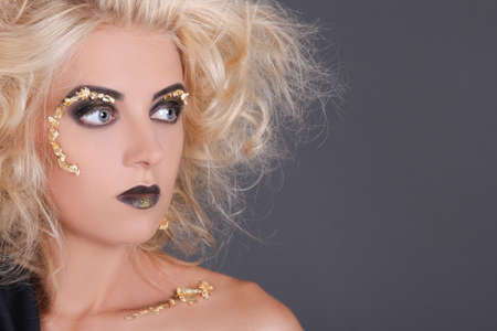 close up portrait of blondie witch over gray background Stock Photo - 21735532