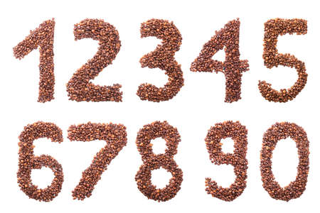 arabic numeral: numbers from coffee beans isolated on white background Stock Photo
