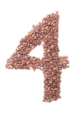 arabic numeral: number 4 from coffee beans isolated on white background