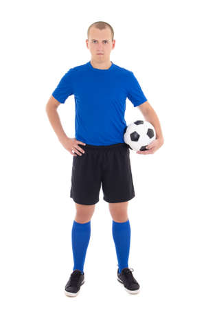 soccer player in blue uniform with a ball on white background photo