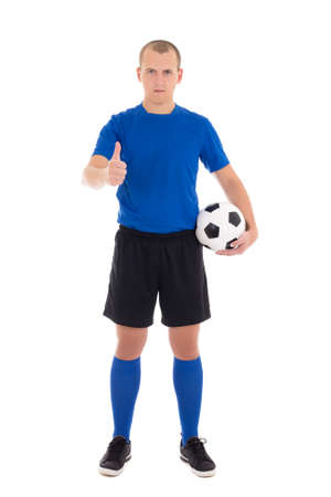 soccer player in blue uniform with a ball thumbs up on white background photo