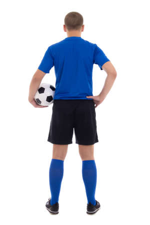 back view of soccer player in blue uniform isolated on white background