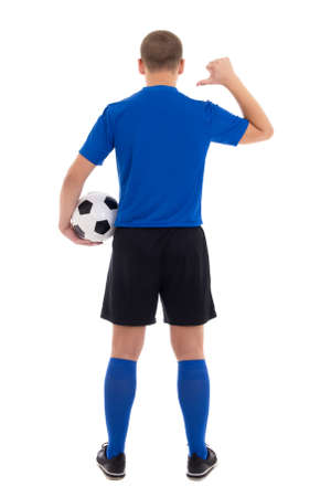 soccer player in blue uniform showing on her back isolated on white background Stock Photo