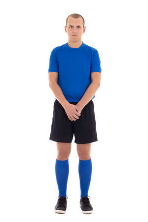 crotch: soccer player in blue uniform full length isolated on white background