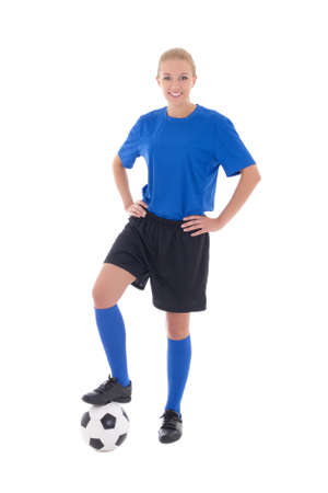 women playing soccer: young female soccer player in blue uniform with ball isolated on white background
