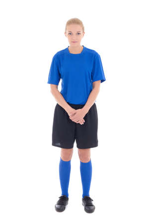 crotch: young female soccer player in blue uniform standing isolated on white background