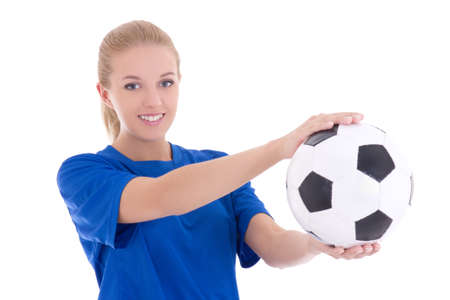 beautiful woman in blue shirt with soccer ball isolated on white background photo