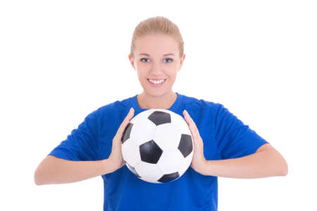 happy beautiful woman in blue shirt with soccer ball isolated on white background photo
