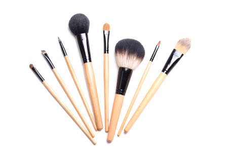 makeup a brush: brown make-up brushes isolated on white background Stock Photo
