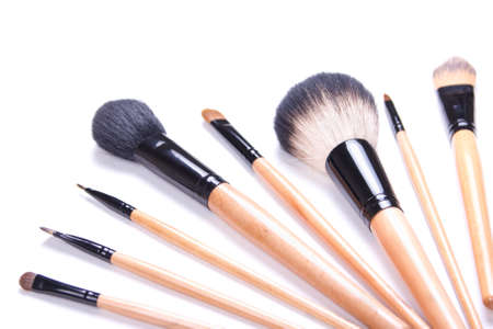 professional make-up brushes isolated on white background photo