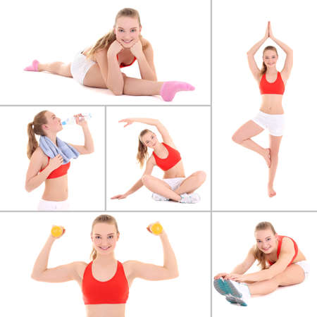 collage of sporty pictures: young beautiful woman doing fitness isolated on white background photo