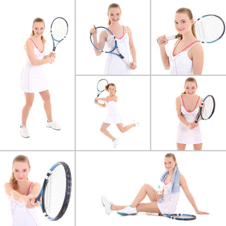 collage of sporty pictures: young beautiful tennis player isolated on white background photo