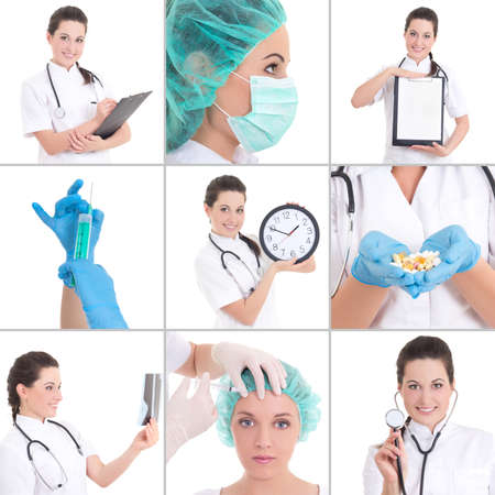 collage of medical pictures: young beautiful female doctor isolated on white background photo