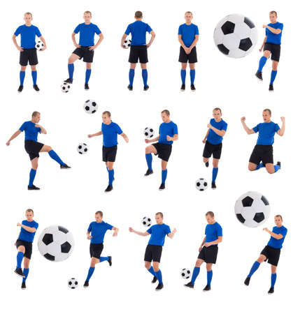 collection of photos - soccer player with a ball in different positions isolated on white background