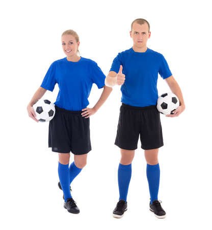 male and female soccer players in blue uniform with a balls isolated on white background photo