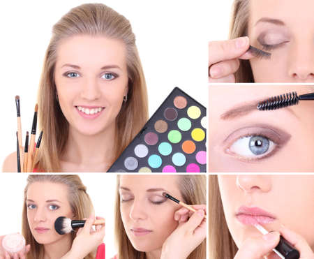 Collage of a young beautiful woman applying make up Stock Photo