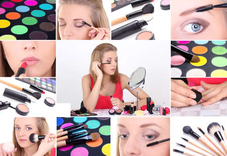 Collage of a young attractive woman applying make up photo