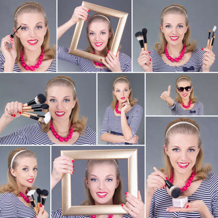 Collage of a beautiful vintage woman applying make up over grey photo