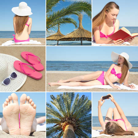 collage of beautiful summer holiday photos with young woman at the beach photo