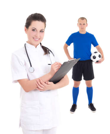 young female doctor and soccer player in blue isolated on white background photo