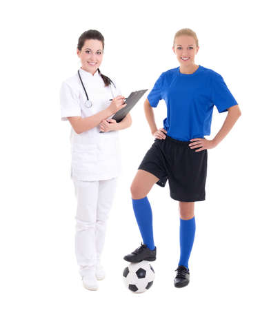 young doctor and female soccer player isolated on white background