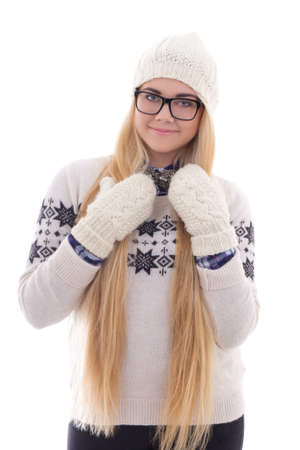 young cute woman in eyeglasses with long hair in warm winter clothes isolated on white background photo