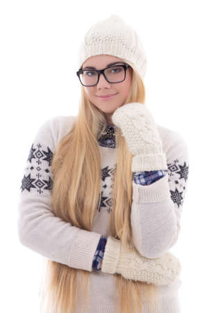 young cute woman in eyeglasses with beautiful long hair in warm winter clothes isolated on white background photo