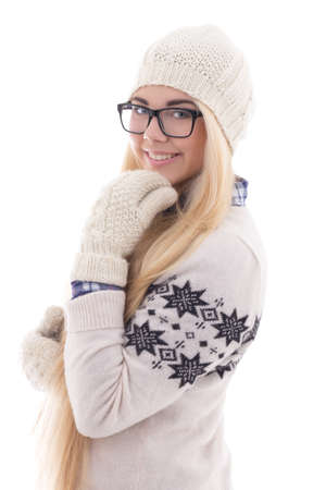attractive teenage girl with beautiful long hair in warm winter clothes isolated on white background